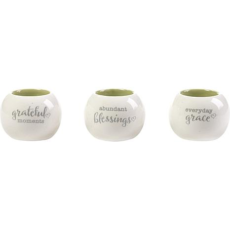 Precious Moments Abundant Blessings Everyday Grace 3pc Ceramic Votive