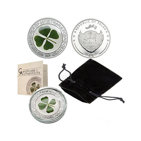Proof LE 2,017 4-Leaf Clover .925 Silver $5 Palau Coin