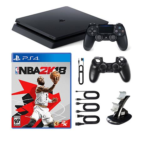 "PS4 Slim 1TB Console w/Sleeve, Dock and ""NBA 2K18"" Game"