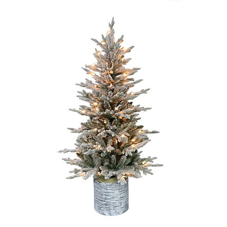 Puleo International 4.5' Pre-Lit Potted Flocked Fir Christmas Tree