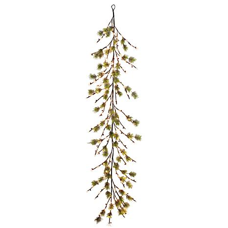 Puleo International 6' Red Berry Garland with White Twinkle LED Lights