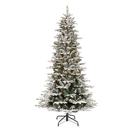 Puleo International 7.5' Pre-Lit Slim Flocked Aspen Fir Christmas Tree