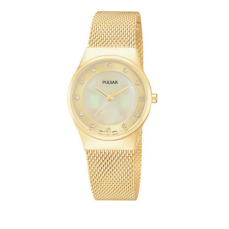 Pulsar Ladies Mother-of-Pearl Dial Goldtone Stainless Steel Watch