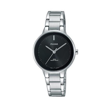 Pulsar Ladies Stainless Steel Black Dial Bracelet Watch