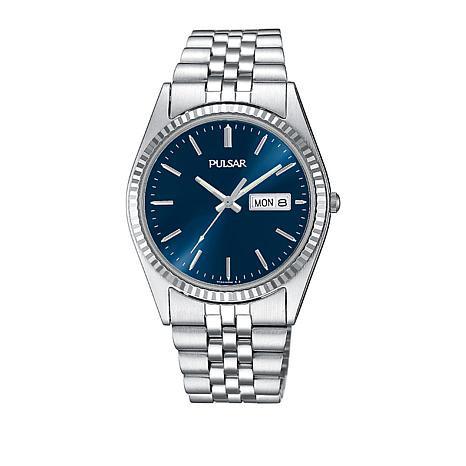 Pulsar Men's Blue Dial Stainless Steel Bracelet Watch