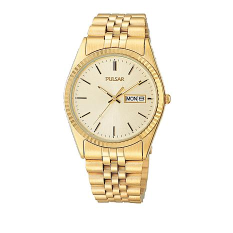 Pulsar Men's Goldtone Coin-Edge Bezel Bracelet Watch