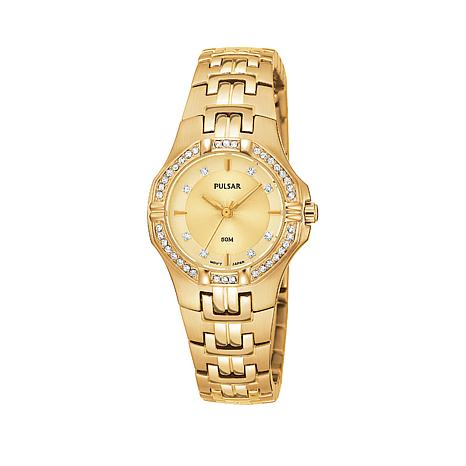 Pulsar Women's Goldtone Crystal-Accented Bezel Bracelet Watch