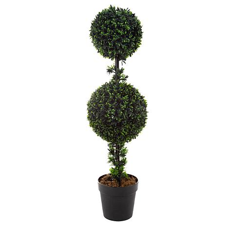 "Pure Garden Artificial Podocarpus 36"" Double Ball Faux Plant"