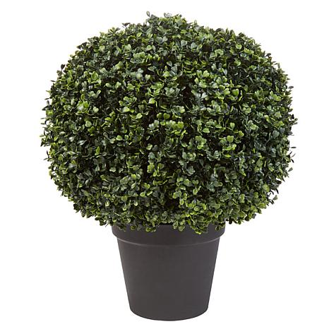 Pure Garden Decorative Potted Realistic Faux Boxwood Topiary