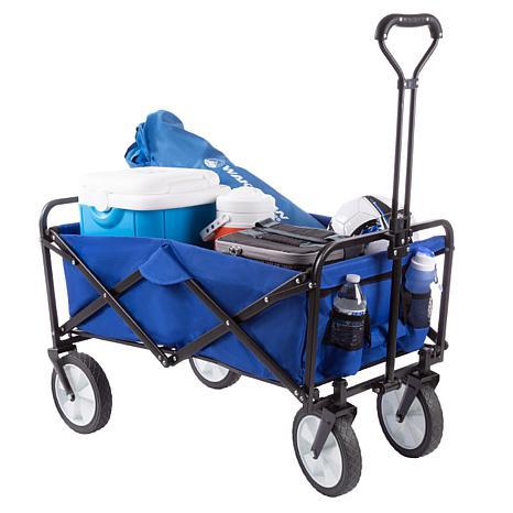 Pure Garden Folding Wagon with Heavy Duty  Telescoping Handle