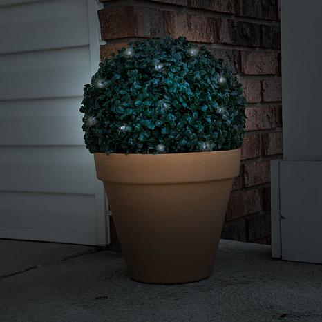 Pure Garden Solar Topiary Light Ball w/White LED Lights