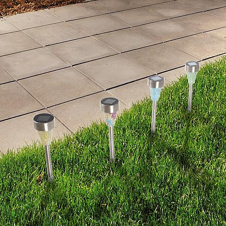 ... Pure Garden Stainless Solar LED Mosaic Pillar Set Of 4 ...