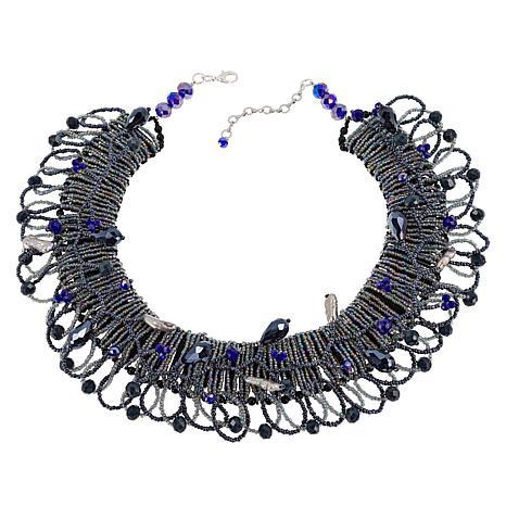 "Rara Avis by Iris Apfel 18"" Black Beaded Collar Necklace"