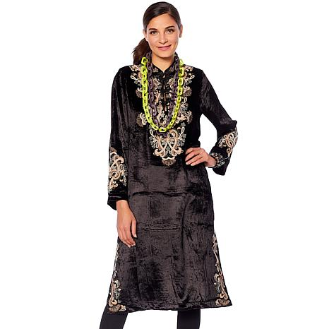 Rara Avis by Iris Apfel Embroidered Velvet Kaftan