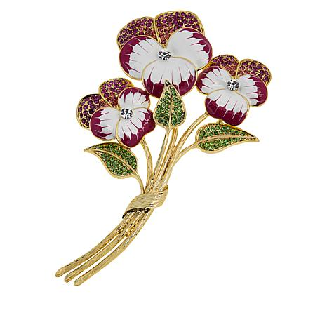 Rara Avis by Iris Apfel Goldtone Crystal and Enamel Flower Brooch