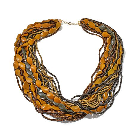 Rara Avis by Iris Apfel Marquise Wood Bead Necklace