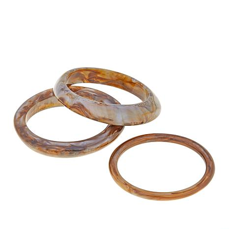 Rara Avis Set of 3 Marbled Resin Bangle Bracelets