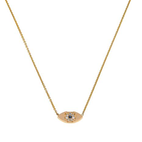 "Rarities 0.04ctw Diamond & Sapphire Evil Eye 14K Gold 16-1/4"" Necklace"