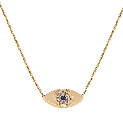 "Rarities 0.13ctw Diamond & Sapphire Evil Eye 14K Gold 16-3/4"" Necklace"