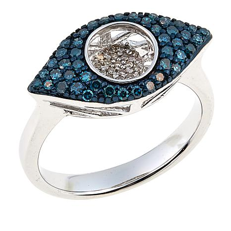 Rarities 0.4ctw Blue and White Diamond Evil Eye Sterling Silver Ring