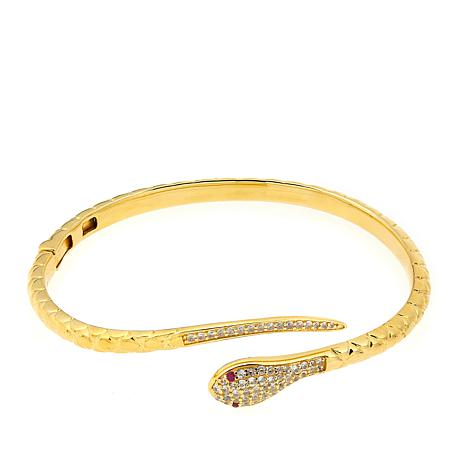 Rarities 1.17ctw Ruby and White Zircon Snake Bracelet