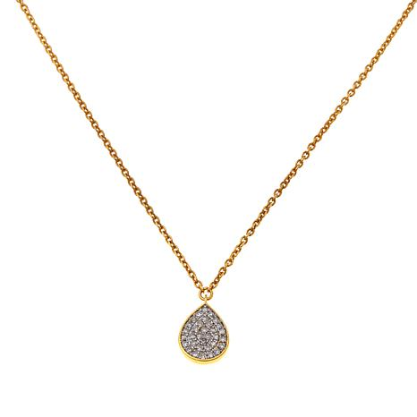 "Rarities 14K 0.151ctw Diamond Teardrop 16"" Necklace"