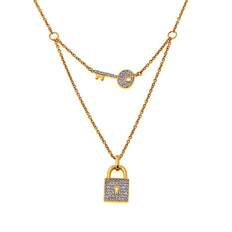 Rarities 14K 0.22ctw White Diamond Lock & Key Necklace