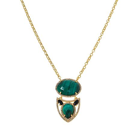 """Rarities 18"""" Gold-Plated Gemstone Abstract Linked Drop Necklace"""