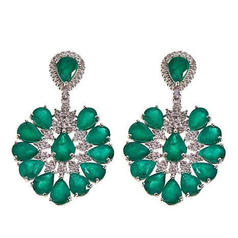 Rarities 18.31ctw Emerald and White Zircon Drop Earrings