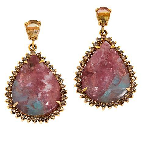 Rarities 18K Rose Gold 2.6ct Tourmaline in Feldspar and Gem  Earrings