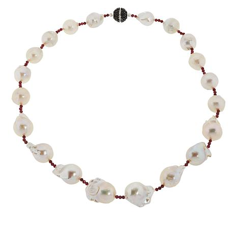 """Rarities 20"""" Cultured Pearl & Garnet Necklace with Black Spinel Clasp"""
