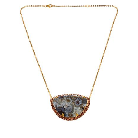"Rarities 20"" Gold-Plated Variegated Agate and Orange Zircon Necklace"