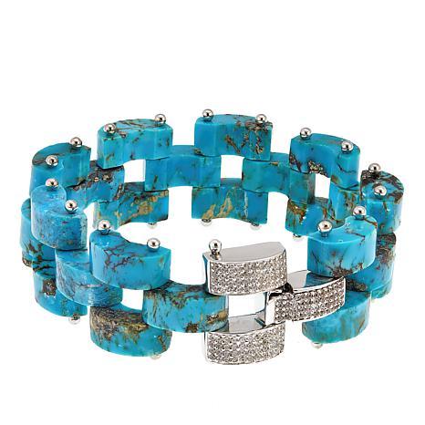 Rarities 3-Row Freeform Turquoise and White Zircon Bracelet