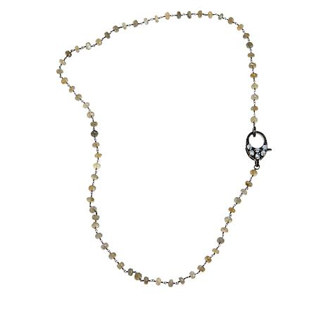 "Rarities 30"" Gemstone Beaded Chain with Black Spinel & Moonstone Clasp"