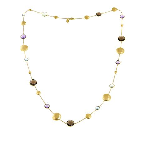 "Rarities 55.93ctw Faceted Gem and Gold-Plated Disc 36"" Necklace"