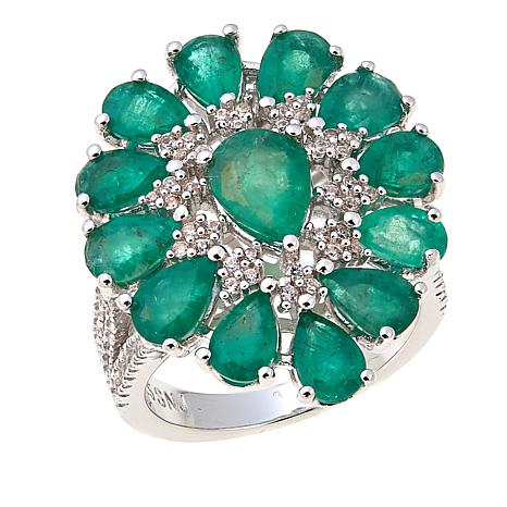 Rarities 5.9ctw Emerald and White Zircon Sterling Silver Ring