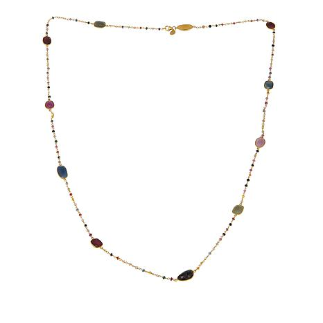 "Rarities 64.90ctw Multicolor Sapphire Beaded Station 44"" Necklace"