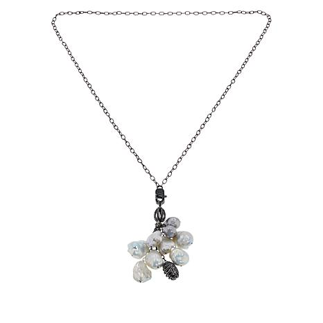 Rarities Baroque Pearl and Black Spinel Chandelier Drop Chain Necklace