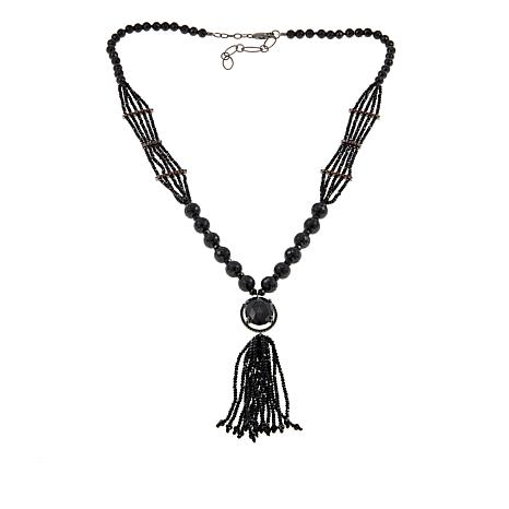 "Rarities Black Spinel and Garnet  Bead 24"" Tassel Necklace"