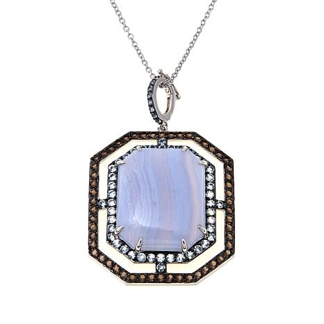 Rarities Blue Lace Agate & Gem Enhancer Pendant w/Chain