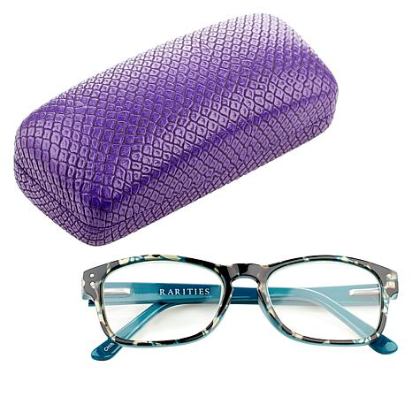 Rarities Blue Tortoise Evil Eye Readers with Case and Cleaning Cloth