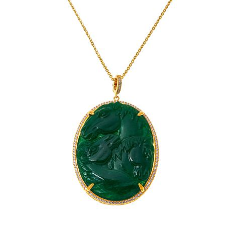"""Rarities Carved Gemstone Horse Pendant with 18"""" Cable Chain"""