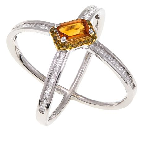 Rarities Colored Gemstone and Diamond X-Design Sterling Silver Ring