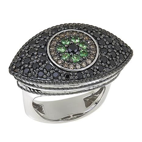 Rarities Gem, Black Spinel and Champagne Diamond Evil Eye Ring