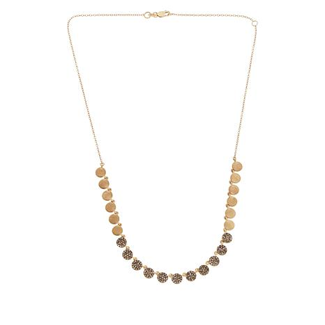 Rarities Gold-Plated 1cttw Champagne Diamond and Disc Drop Necklace