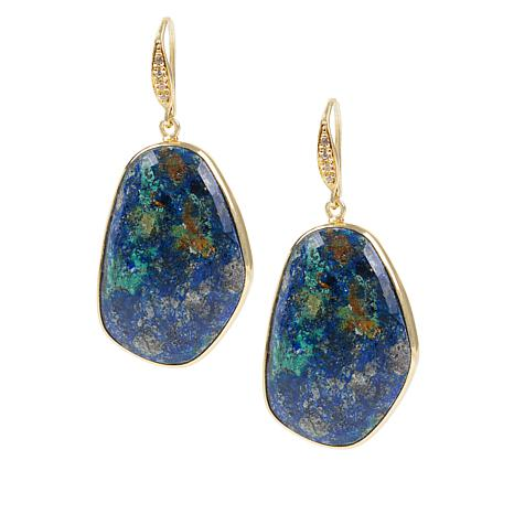 Rarities Gold-Plated Azurite Malachite and White Zircon Drop Earrings