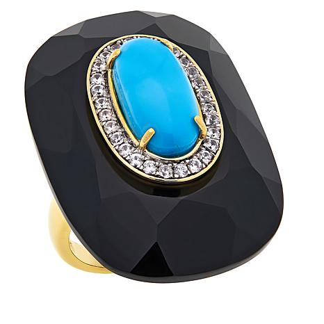 Rarities Gold-Plated Faceted Onyx, Turquoise & White Zircon Oval Ring