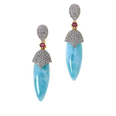 Rarities Gold-Plated Larimar, Ruby and White Zircon Drop Earrings