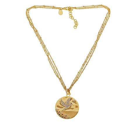 "Rarities Gold-Plated Multigem Dove Disc Pendant with 16"" Chain"