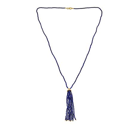 Rarities Gold-Plated Sterling Silver Gemstone Rondelle Tassel Necklace